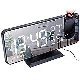 Kangmeile Despertador Proyector, USB Digital LED Reloj Despertador Temporizador de repetición Radio FM Proyección de Techo Alarma Dual, LED de 8 para Dormitorio y Oficina Alimentado con Radio