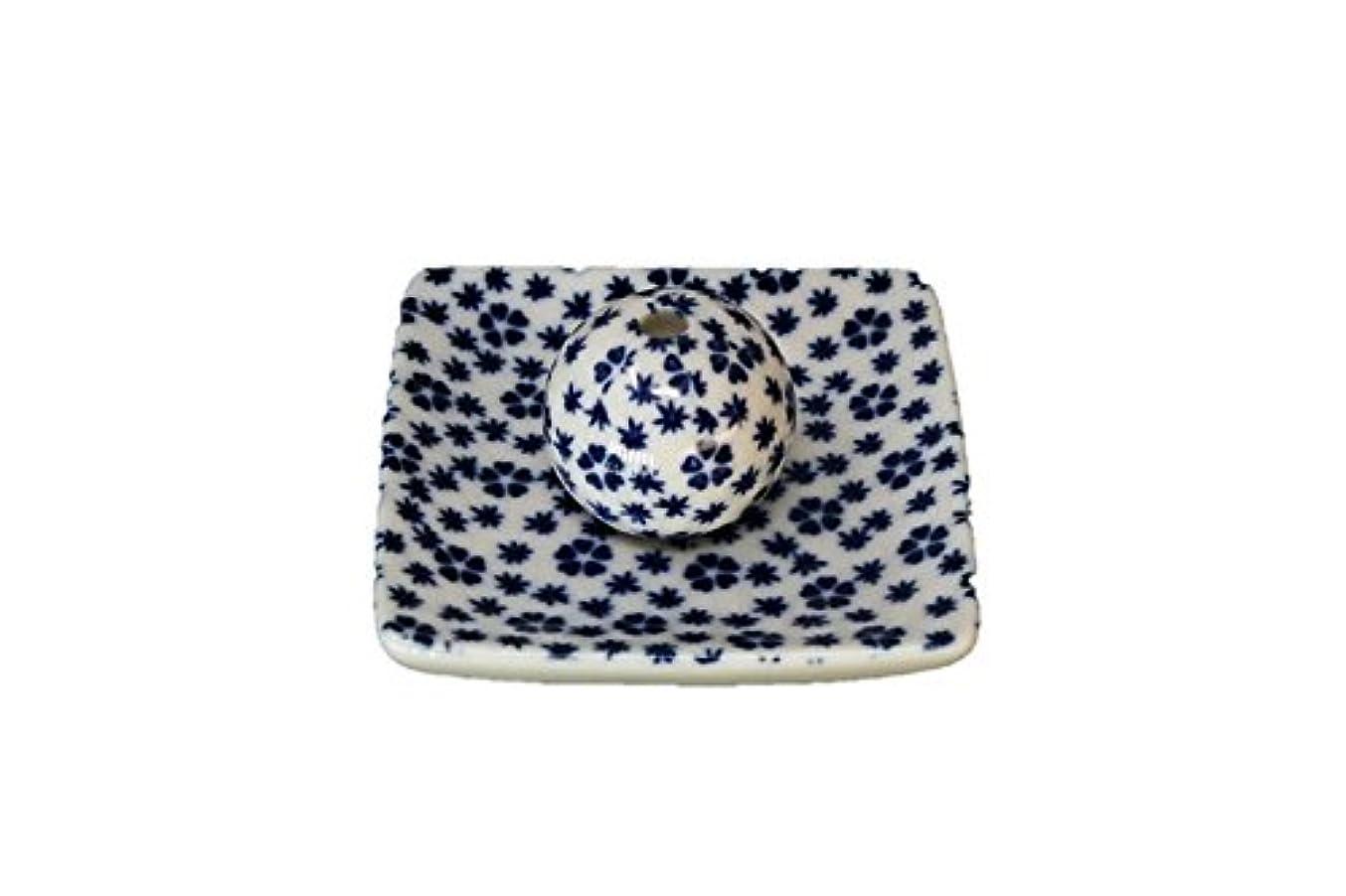 オプション目に見えるバラエティ桜小紋 青 小角皿 お香立て 陶器 ACSWEBSHOPオリジナル