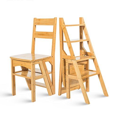 PENGFEI Pliable Stool Ladder Multifonction Usage Double 4 Étapes Bambou Couleur Blanche/Bois, 40 * 46 * 89CM (Couleur : Couleur du bois)