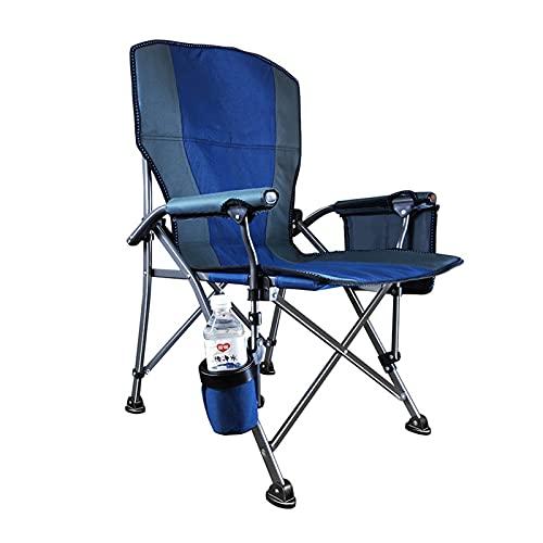 JLJLJL Silla de Camping Plegable de Alta Espalda al Aire Libre, con Soporte Acolchado y de Taza para al Aire Libre, Campamento, Pesca, Senderismo, césped, incluida la Bolsa Blue