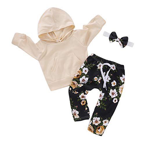 Baby Girl Kids Clothes Outfits Long Sleeve Sweatshirt Floral Pants Clothing Set (6-12 Months, Yellow)