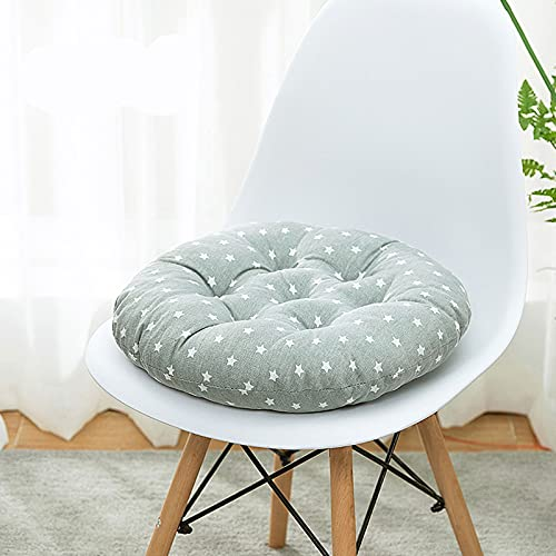 Cuscini per sedie Set di 6 cuscini per sedili in cotone e lino Cuscino per sedie da pranzo Cuscino per sedili rotondo in cotone addensato Portatile per giardino all'aperto-8||40cm in diameter