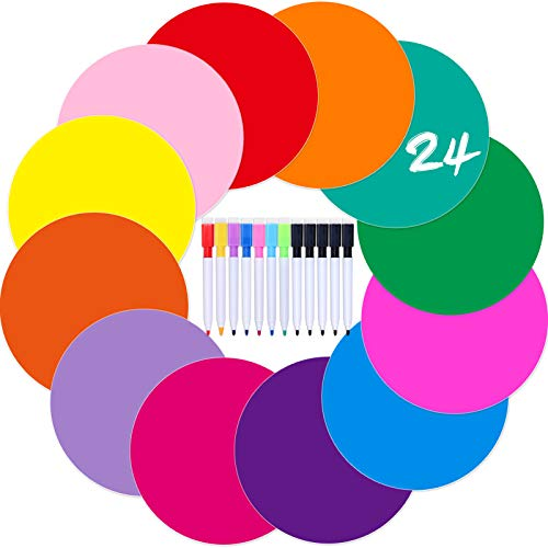 Zayvor 24pcs Dry Erase Circles Dry Erase Table Spots,White Board Markers,Removable Vinyl Dots Stickers Colorful Wall Decal Classroom Table Spots for Home Office School Classroom Decorations
