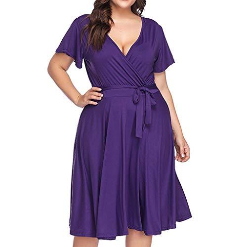 Damenkleid in Übergröße böhmisches kurzes Hülsen-Kleid der Frauen V-Ansatz Schnürung-hohe Taillen-Normallack-Sommer-Kleid-Kleid Sonojie