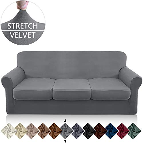 Granbest 4 Piece Microfiber Stretch Couch Cover Super Soft Sofa Cover for 3 Cushion Couch Non Slip Sofa Slip Cover Furniture Protector with Individual Seat Covers Washable(Large, Light Gray)