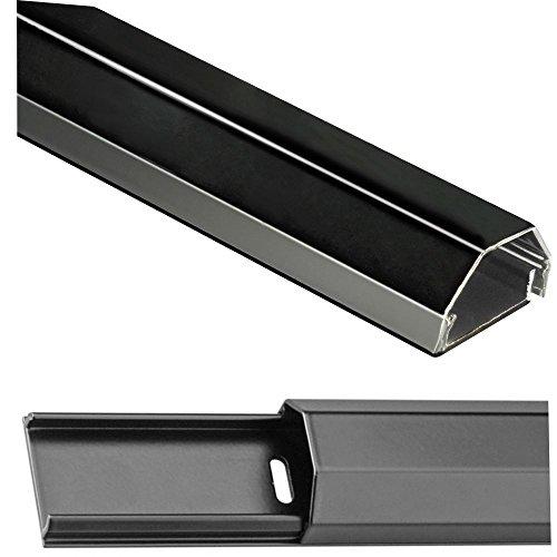 Preisvergleich Produktbild Alu Kabelkanal schwarz; 110 cm / 5 cm breit / 2, 6 cm hoch; 2-teilig (Bodenplatte und Deckel); inkl. Montagematerial; für LCD, LED, Plasma TV's; Aluminium in perfekter Optik,  abgestimmt auf hochwertiges Equipment