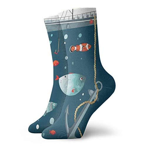 Calcetines suaves de media pantorrilla, coloridos patrones de vida silvestre del océano, peces de payaso, animales subacuáticos exóticos, ecológicos, ...