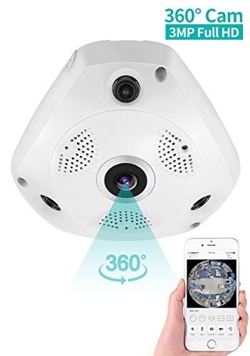 Panorama Kamera IP Kamera 360°, Dericam Überwachungskamera WLAN 3MP Full HD mit Fisheye Objektiv, Zweiwege-Audio, Nachtsicht, Bewegungserkennung, perfekt für zu Hause, Büro, Shop Indoor Gebrauch