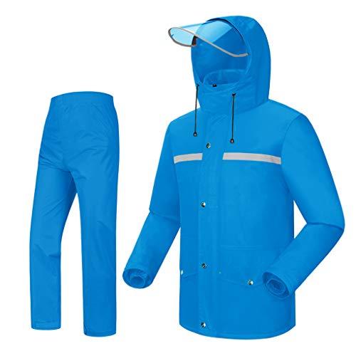 DONGXIN Classic Rain Jacket Regenmantel Regenhose Jacke Set Adult Wetterfest Kapuze Outdoor Arbeit Wandern Classic Rain Jacket (Color : A, Size : XXL)