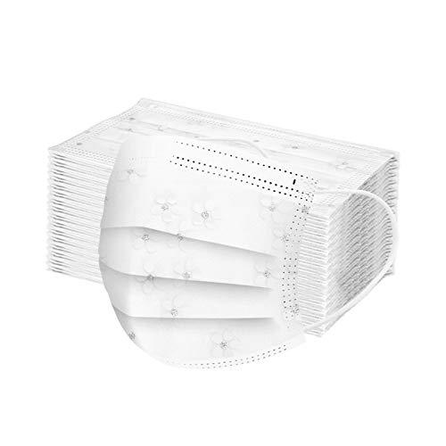 YpingLonk 50 Stück Elegante Mundschutz aus Spitze mit Perlen, modische Mundbedeckung, wiederverwendbar, atmungsaktiv, waschbar (2-Multicolor, 50 Stück)