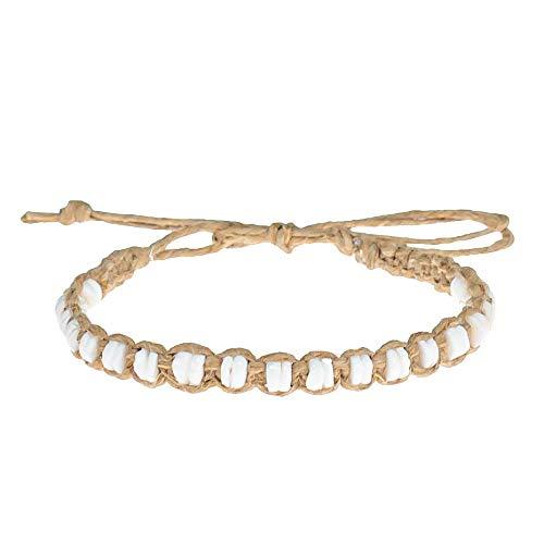 BlueRica Puka Shells Beads on Hemp Anklet Bracelet