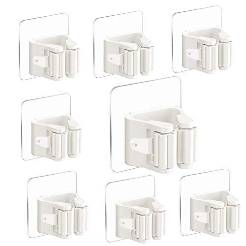 3-H Besenhalter Gerätehalter Selbstklebend Mop und Besen Halter Stabile Wandhalterung Ordnungsleiste Schnellspannern für Mop/Besen/Gartenwerkzeug(Weiße)