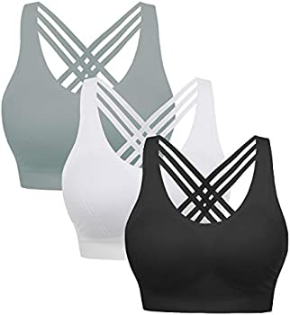 3-Pack Cross Back Wirefree Removable Cups Yoga Sport Bra (S to XL)