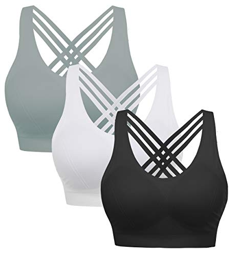 AKAMC Women's Removable Padded Sports Bras Medium Support Workout Yoga Bra 3 Pack,Grey/White/Black,Large