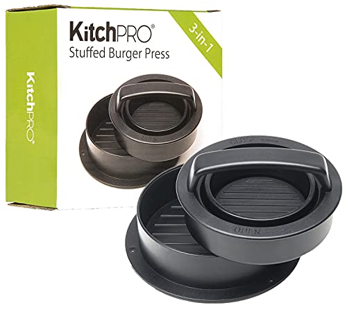 Burger Press for Stuffed Burgers, Sliders, Regular Burger Patty | Fast and Easy Burger Preparation for BBQ Grill Parties, Picnics, Birthdays, Home-Made Burger Patty