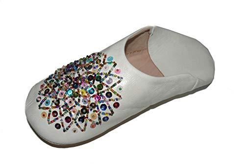 Marrakech Accessoires Orientalische Schuhe Babouche Hausschuhe Pantoffel Slipper aus Marokko - Damen - 905363-0035, Schuhgrösse:39