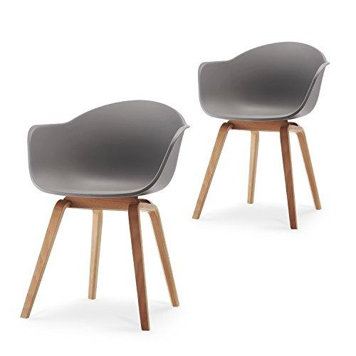 Damiware Romeo Wohnzimmerstuhl Esszimmerstuhl 2er-Set Grau Polypropylen und Buchenholz Retro Design Stuhl für Büro Lounge Küche Wohnzimmergrey (Grau)