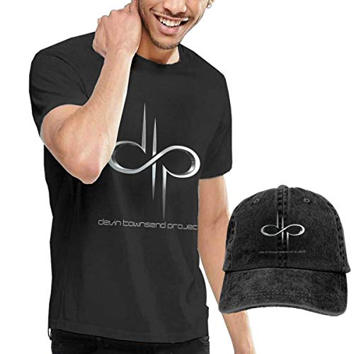 SOTTK Herren Kurzarmshirt Mens Funny Devin Townsend Project Logo Tshirt and Washed Denim Hat Casquette Black ComfortSoft Cotton T-Shirt