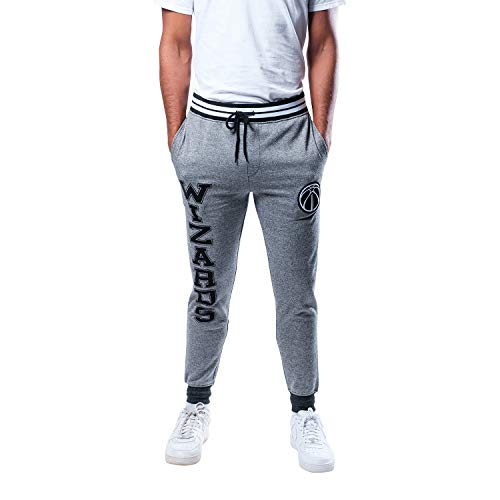 Ultra Game NBA Washington Wizards Mens Jogger Pants Active Overtime Fleece Sweatpants, Charcoal, Large