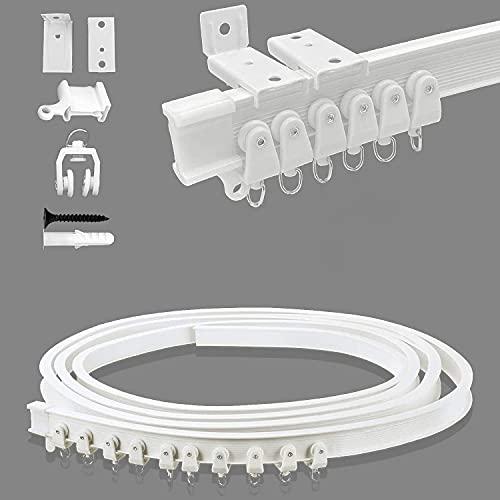 Auflosung Riel de Plástico Flexible para Cortina, 5 Metros Riel de Cortina Curvado, Pista Flexible para Cortina de Techo para RV, Cortinas, Divisor de Habitación