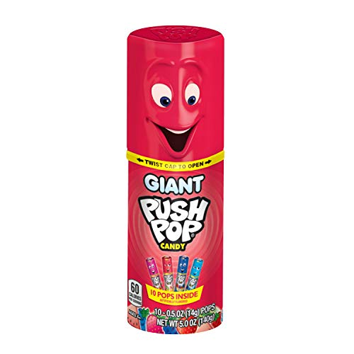 Giant Push Pop Container with Variety of Individually Wrapped Lollipops Inside - 10 Count Lollipop Suckers in Assorted Fruity Flavors - Fun Candy for Gifts