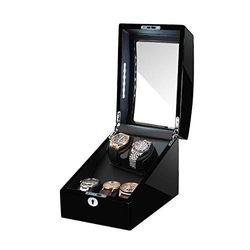 AYYEBO Caja Enrolladora Automática 2 + 3 Almohada Reloj Suave Y Flexible Luz LED Incorporada Exterior Pintura Piano Motor Silencioso (Color : Black+Black)