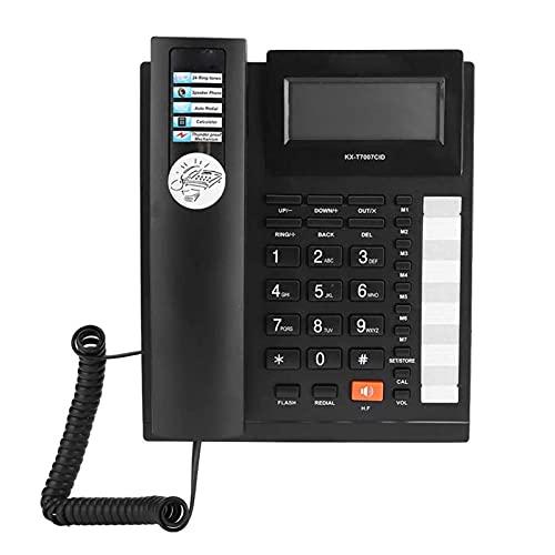 ELKeyko Llamador de Interfaz Dual IDENTIFICACIÓN Botones Grandes Inicio Oficina Teléfono Línea Línea Audifono Negro Teléfono Cuarejado Teléfono
