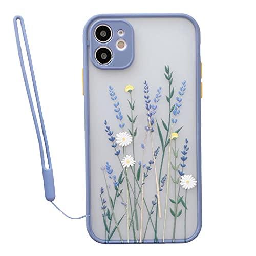 TENOC Kompatibel mit Handyhülle iPhone 12, Blume Transparent Matte PC Back 3D Floral Weich Silikon Bumper Silikonband, Schutzhülle Hülle für iPhone 12,Lila