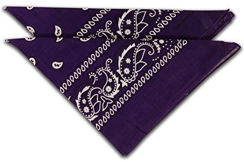 fashionchimp ® Nicki-Halstuch aus 100% Baumwolle im 2er Set, Unisex Bandana, AZO-Frei (Lila)