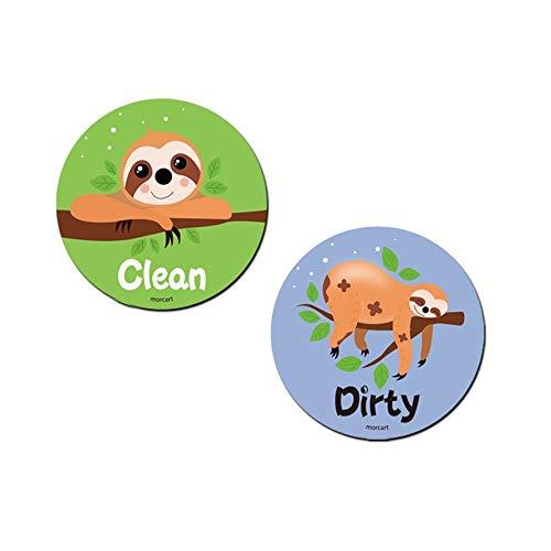 """Morcart Kühlschrankmagnet mit Aufschrift """"Clean Dirty"""", doppelseitig, kratzfest, magnetisch, 8 cm, rund Faultier"""