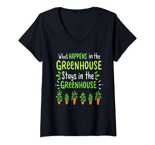 Mujer Lo que sucede en el invernadero Divertido Jardinero Regalo Jardinero Camiseta Cuello V