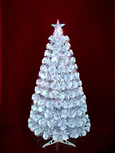 Inside Out Toys Indoor LED Multicolour Fibre Optic Xmas/Christmas Tree Green or White Various Sizes (3' (90cm), White with Bauble Decorations)