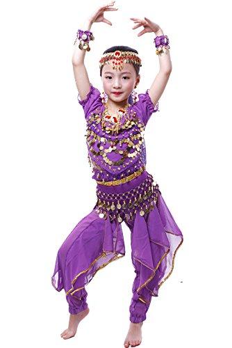 Astage Bambino Ragazza Costume Travestimento Danza del Ventre per Carnevale,Halloween,Cosplay L Viola