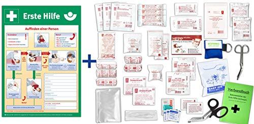 Komplett-Set Erste-Hilfe DIN/EN 13157 Plus 1 - Paket 2 -für Betriebe INKL. Notfallbeatmungshilfe & AUSHANG Erste-Hilfe