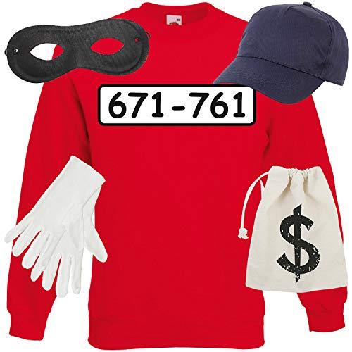 Shirt-Panda Unisex Sweatshirt Panzerknacker Kostüm + Cap + Maske + Handschuhe Verkleidung Karneval SET06 Sweater/Cap/Maske/Handschuhe/Beutel L