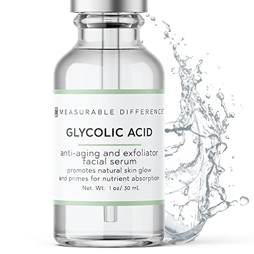 Measurable Difference Glycolic Acid Serum 5% for All Skin Types – Alpha Hydroxy Acid Facial Peel Moisturizer – Anti-Aging AHA Skin Care Face Serum - Reduce Acne Scars, Wrinkles, Lines, Spots - 1 Oz