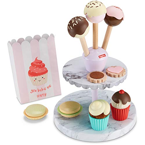 Fisher-Price Cake Pop Shop - 24-Piece Pretend Dessert Bakery Play Set with Real Wood for Preschoolers 3 Years & Up