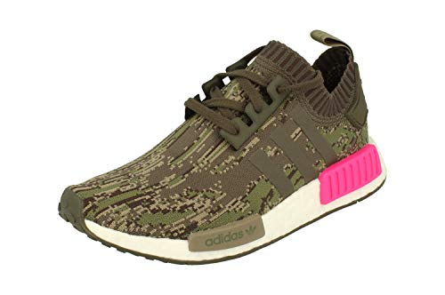 Adidas Originals NMD_R1 PK Hombre Running Trainers Sneakers Zapatos Prime Knit (UK 5.5 US 6 EU 38 2/3, Utility Green Pink BZ0222)