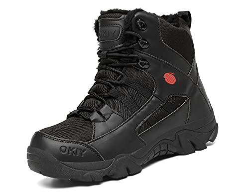 IYVW OKIY 1705R Stivali da Caccia da Uomo Stivale Tattico da Combattimento Militare Alto Alto Allacciate Scarpe per Tutti i Terreni per Escursionismo nero 41 EU
