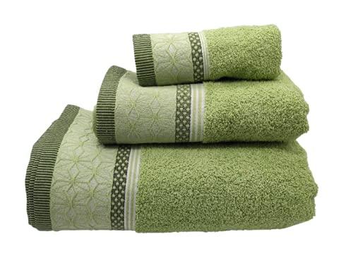 SusggO Juego de 3 Toallas para el Baño Fabricadas en Portugal. 100% algodón 450gr Cenefa Rombos Flor. Conjunto 3 tamaños: 1 de Ducha-baño, 1 de Manos-Lavabo, 1 de tocador (Verde Rombos VR, 450)