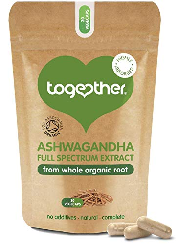 Ashwagandha – Together Health – 100% Organic Certified Ashwagandha Roots – High Concentration, Full Spectrum Extract – Vegan Friendly – Made in The UK – 30 Vegecaps
