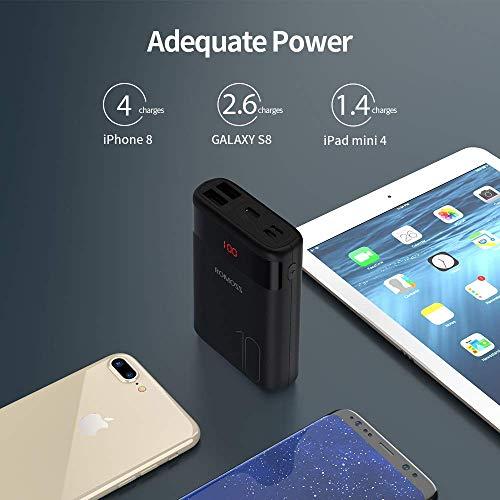 Romoss Powerbank Mini 10000 mAh Leggera, Carica Batterie Portatili Cellulare Rapida con 3 Ingressi e 2 Uscite, Universale Compatibilità con Tutti i Telefoni Cellulari