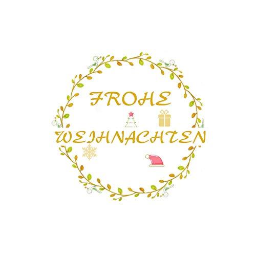 Super Idee 100 Aufkleber FROHE WEIHNACHTEN kleine runde Etiketten 4cm Durchmesser Selbstklebende Sticker Ideal zum Basteln und Dekorieren von Geschenkverpackung weihnachtlich Papiertüten Gastgeschenke