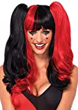 Leg Avenue Women's Harlequin Wig with Clip-on Pony Tails and Adjustable Strap, Black/Red, One Size
