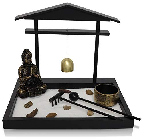 Basic Fundamentals Japanese Zen Garden Kit Home Decor - Buddha Statue with Bell Office Desk Accessories - Zen Garden Sand Corner Desk Office Decor - 8.75' x 6.5' x 7.75'