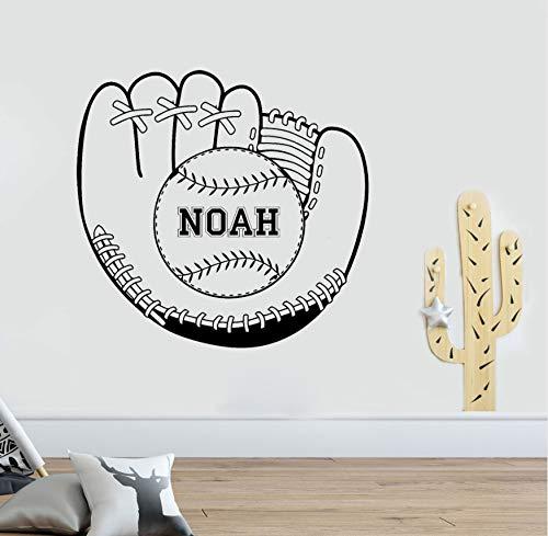 Baseballhandschuh Mit Ball Wandaufkleber Benutzerdefinierte Name Aufkleber Jungen Room Decor Sport Fans Wand Vinyl Aufkleber 60x57cm