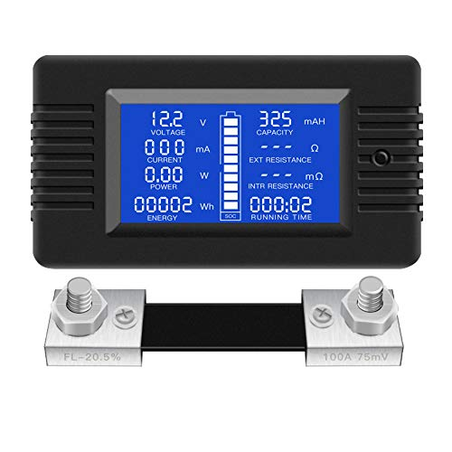 DC Multifunction Battery Monitor Meter,0-200V,0-100A (Widely Applied to 12V/24V/48V RV/Car Battery) LCD Display Digital Current Voltage Solar Power Meter Multimeter Ammeter Voltmeter