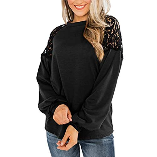 Yczx Womens Tshirts Long Sleeve Casual Loose Crew Neck Pullover Tops Chic Lace Patchwork Sweatshirts Spring Autumn Comfortable Baggy T-Shirt Blouse Lightweight Daily Wear Vacation Jumpers S