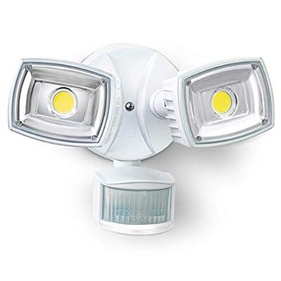 Home Zone ES00730V Security LED Motion Sensor Flood Lights, Outdoor Weatherproof Ultra Bright 5000K, White (Renewed)