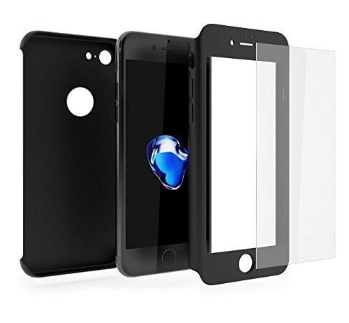 Cover iPhone 7 360 Gradi + Pellicola Vetro Temperato, [ 360 ° ] [ Nero ] Custodia iPhone 7 360 Gradi + Pellicola Protettiva in Vetro Temperato per iPhone 7